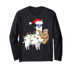 Check this Funny Llama Shirt X-Mas Santa Sloth Christmas Tree Lights Long Sleeve T-Shirt-Cotoa . Hight quality products with perfect design is available in a spectrum of colors and sizes, and many different types of shirts! Christmas Sloth, Toddler Christmas, Christmas Fun, Sloth Shirt, Llama Shirt, T Shirt, Funny Sloth, Funny Llama, 31st Birthday