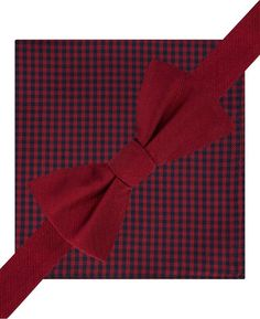Tommy Hilfiger Solid To-Tie Bow Tie and Gingham Pocket Square Set