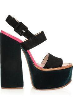 Victoria Beckham|Velvet and suede platform sandals|NET-A-PORTER.COM