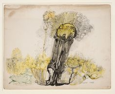 Ibrahim El-Salahi Untitled - yellow tree, 17/03/1977