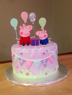 Peppa Pig cake Peppa Pig is usually a British isles toddler cartoon tv collection directed Peppa Pig Car, Bolo Da Peppa Pig, Peppa Pig Birthday Cake, 2nd Birthday, Special Birthday, Birthday Cake Decorating, Cookie Decorating, Tortas Peppa Pig, Cake Pops