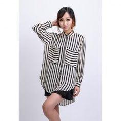 $11.94 Fashionable Big Pocket Irregular Hem Long Sleeve 2013 Spring Chiffon Stripe Shirt For Women