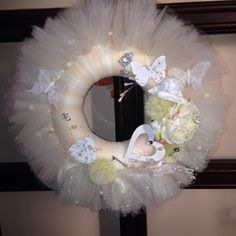 Wedding tulle wreath. For all the brides, romantic souls.  Added angel, wooden hearts and butterfly. Flowers, beads, fearhers, little keys, cage.  More at https://www.facebook.com/Moje-vence-995508700482994/
