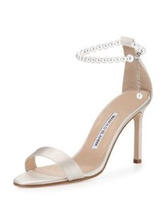 Chaos Pearly Ankle-Wrap Sandal, Champagne by Manolo Blahnik at Bergdorf Goodman. #manoloblahnikheelsproducts #manoloblahnikheelsbergdorfgoodman
