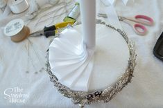 Cut off styrofoam ball. Insert PVC tube and glue in. Add brooches, finish with Ribbon Finishing for underneath Brooch Bouquet Fabric Bouquet, Wedding Brooch Bouquets, Diy Bouquet, Bride Bouquets, Flower Bouquet Wedding, Ribbon Bouquet, Purple Bouquets, Bridesmaid Bouquets, Flower Bouquets