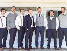 Blush Barn Wedding - Inspired By Thisnavy and grey groomsmen suits