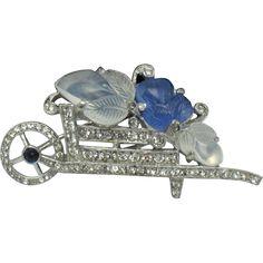 Vintage 1941 TRIFARI Alfred Philippe Chalcedony Blue Figural Wheel Barrow Fur Clip Pin - BK PC