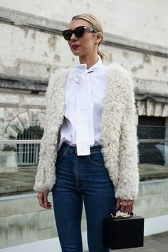 How to style denim with a white fur jacket