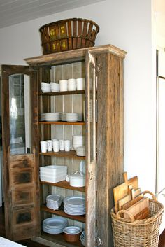 old cabinet repurposed as storage