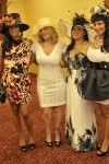 Cheryl James (Salt of Salt n Pepa) wears a Polly Singer Hat, Ebony and Ivory, to the Kentucky Derby.