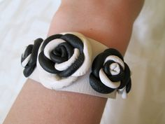 FREE SHIPPING White, Black, Leather Roses, Leather Bracelet, Bracelet for Woman, White&Black Bracelet, Leather Jewelry, Leather Design, LeSe by LeSeForYou on Etsy