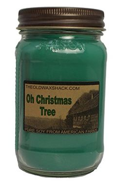 Oh Christmas Tree Scent Soy Candle 16 Oz Mason Jar Holiday Scent