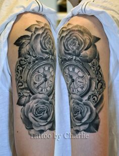 Pocket watch with roses - tattoo idea