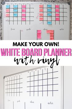 Love this idea of a giant whiteboard turned calendar and planner to help keep me organized. It makes the best editorial calendar too! Diy Whiteboard, Planner Organization, Organization Ideas, Family Schedule, Bullet Journal Hacks, Diy Craft Projects, Crafts, Best Planners, Planner Supplies