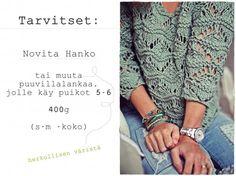 Kalastajan vaimo -blogissa inspiroiduttiin Novita Hanko -langasta. Kurkkaa juttu rennosta pitsineulepuserosta ohjeineen!