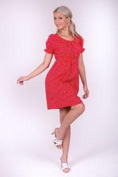 Šaty červenobílý puntík žabičkované vel 36-40