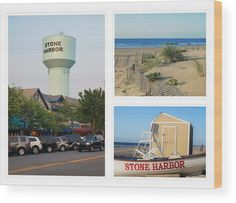 Scenes of Stone Harbor wood print. A photo collage of iconic scenes of Stone Harbor, New Jersey including 96th Street and the water tower in the shopping district downtown, the dunes in the morning, and a Stone Harbor beach patrol boat on the beach. Original work available as framed print, canvas, and more only on Fine Art America and Pixels.com. https://andrea-rea.pixels.com/