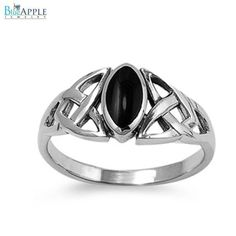 2mm Celtic Ring Marquise Cut Synthetic Black Onyx Solitaire Bezel Set Celtic Design Twisted Knot Solid 925 Sterling Silver Engagement Ring
