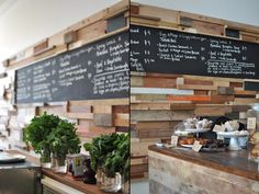 slowpoke espresso cafe, australia.. love the reclaimed wood walls with blackboards