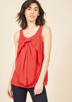 Hello, Bow! Sleeveless Top in Red