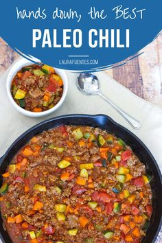 All meat and veggie paleo and whole30 friendly chili recipe. This is the original recipe loved by millions! Make it on the stovetop or in the slow cooker with this easy recipe!