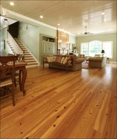 Antique Reclaimed Heart Pine Select grade flooring in a new Southern home.