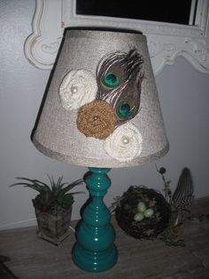 Turquoise Peacock blue LAMP hand made Burlap roses with PEACOCK FEATHERS