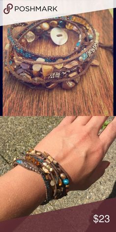 Chunky! Wrap bracelet! Brown leather wrap bracelet with chunky beads and stones. Super cute! 27 inches long. Wraps around most wrists 3-4 times. Comes in gift bag. Jewelry Bracelets