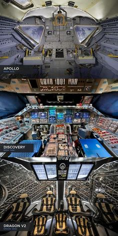 """""""The 45 year evolution of spacecraft cockpit design from @NASA Apollo to Discovery to @SpaceX Dragon v2"""" - @Moore"""