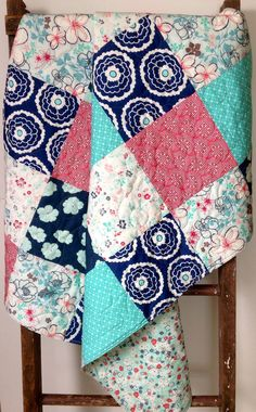 Baby Quilt, Girl, Reversible, Nouvelle, Cloudberry, Girl About Town, Aqua, Coral, Navy, Art Gallery Fabrics, Baby Bedding, Crib Bedding