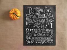 Pumpkin Pie Recipe - Fall Decor - Thanksgiving Decor- Chalkboard Art - Fall Pumpkin Decor - Thanksgiving Art - 11x14 Print - Hand Lettering