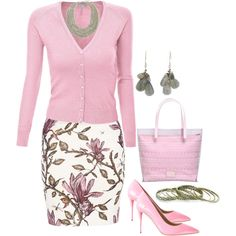 A fashion look from February 2014 featuring pink knit cardigan, Bruuns Bazaar and heels stilettos. Browse and shop related looks. Sunday Outfits, Mode Outfits, Skirt Outfits, Spring Outfits, Fashion Outfits, Classy Outfits, Pretty Outfits, Stylish Outfits, Look Vintage