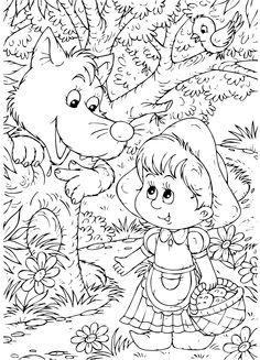 If your lovely kiddos are folklore and fairy tale lovers, then we suggest you to hand them Little Red Riding Hood Coloring Pages. Coloring Sheets For Kids, Disney Coloring Pages, Coloring Book Pages, Red Riding Hood Wolf, Red Riding Hood Party, Fairy Tale Projects, Christmas Colors, Little Red, Outline Drawings