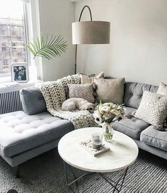 Lovely grey corner sofa and living area! Very relaxing!