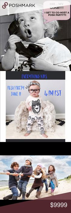 My first Co-Host Posh Party! June 11 at 4pm kids Please join me for my first co-host poshmark party this Sunday June 11. The theme is 'everything kids.' So please like this page, leave me a comment to check out your closet as I help choose the Host pics! Other