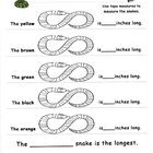 A math center to practice measurement skills. Copy and laminate the colored snakes. Place the snakes, measuring tapes, and recording sheets at a ma...