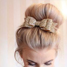 Pale Gold Glitter Bow Barrettes de la Pinza de Pelo para La Muchacha y Las Mujeres Las Niñas de lentejuelas Chica Accesorios Para El Cabello Horquilla Arco Pasador de Pelo Clip de Lujo