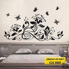 Negro Flores Mariposas Pared Adhesivo PVC Murales... #papel