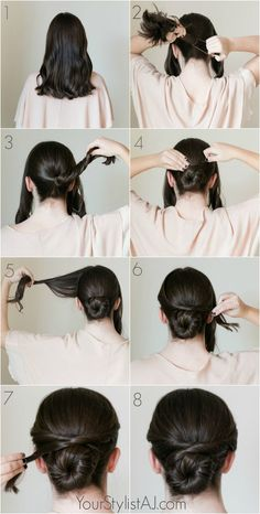 Easy fancy bun tutorial 21 ridiculously easy hairstyles you can do with spin pins Ballet Hairstyles, Fancy Hairstyles, Braided Hairstyles, Easy Work Hairstyles, Short Bridesmaid Hairstyles, Easy Hairstyles Tutorials, Bridesmaid Hair Bun, Bridesmaid Hair Tutorial, Indian Wedding Hairstyles