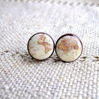 world map earrings
