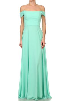 Bridesmaid Long Gown DR1600.  A-Line Solid Color, Full Length Bridesmaid Evening Gown has Off the Shoulder Neckline and Open Back, Invisible Zipper Closure, Long and Softly Gathered Skirt. https://www.smcfashion.com/wholesale-bridesmaid-dresses/bridesmaid-long-gown-dr1600
