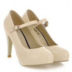 Elegant Style Patent Leather and Buckle Design Pumps For Women, BEIGE, 37 in Pumps | DressLily.com