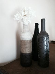 Wine bottle art (the one on the right intrigues me...)