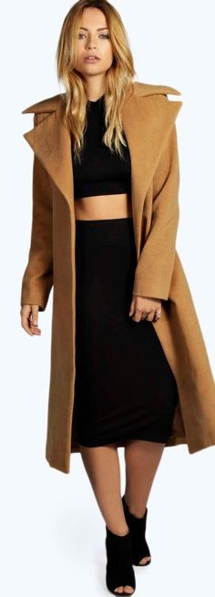 Jeeny Camel Wool Look Coat - Coats & Jackets  - Street Style, Fashion Looks And Outfit Ideas For Spring And Summer 2017