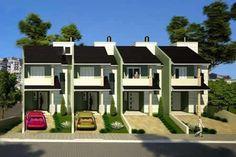 sobrados geminados pequenos 3 Townhouse Apartments, Modern Townhouse, Townhouse Designs, Apartment Projects, Apartment Layout, Apartment Plans, Duplex Design, Modern House Design, Terraced House