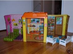 "70s barbie Country-Living-Home- this was the closest I would ever get to a doll house, you would be amazed at what an ""open concept"" home it turned into :)"