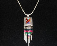Pendant Inlay with sterling silver necklace with dangles Name Necklace, Tassel Necklace, Jewelry Necklaces, Sterling Silver Necklaces, Silver Jewelry, Western Wear, Personalized Jewelry, 18k Gold, Dangles