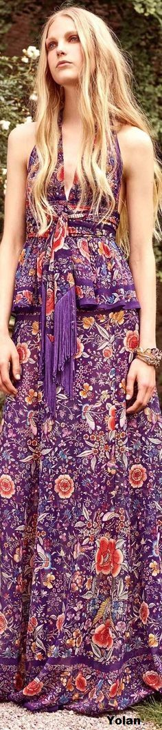 Roberto Cavalli - Resort 2017 Style Couture, Couture Fashion, Boho Fashion, Purple Fashion, Floral Fashion, Womens Fashion, Boho Chic, Bohemian Style, Hippie Bohemian