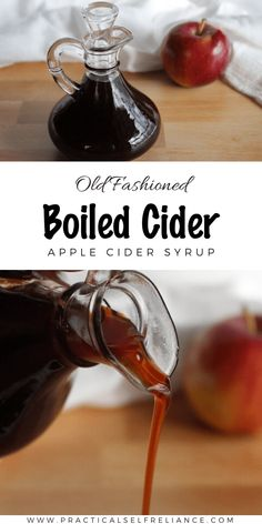 Boiled cider is a simple one ingredient apple cider syrup that's perfect for topping pancakes Homemade Maple Syrup, Homemade Apple Cider, Fruit Preserves, Fruit Jam, Preserving Apples, Preserving Food, Sugar In Apple, Apple Cider Uses, Boiled Apple Cider Syrup Recipe
