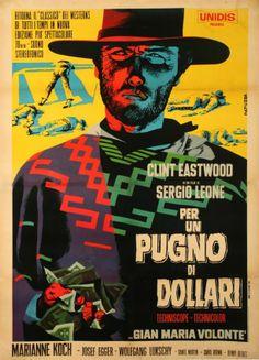 """Michelangelo Papuzza – Affiche pour le film """"Per un pugno di dollari"""" de Sergio leone (1965)"""